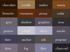 240 Colours and their names in English - The Write Way Story Inspiration, Color Inspiration, Colors Name In English, Colour Pallete, Color Palettes, Purple Palette, Grey Clouds, Color Psychology, Fashion Vocabulary