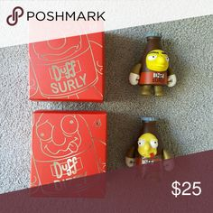 Kidrobot The Simpsons Duff Dizzy and Surly Brand new Comes in sealed box Packaged with care  3 inch Vinyl figures Other