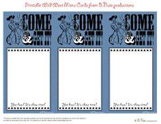 Free Printable Western Menu Cards