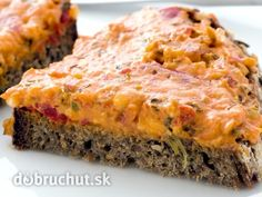 Bread with tasty spread. Farmhouse bread with a tasty turkish spread on a white , Zucchini, White Dishes, Snacks, Meatloaf, Quiche, Pesto, Vegetarian Recipes, Sweet Tooth, Salsa