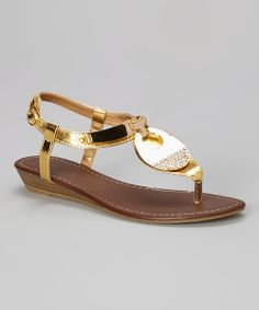 Take a look at the Gold Rhinestone Disc Wedge Sandal on #zulily today!