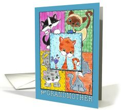 Happy Birthday for Grandmother -Kitty Quilt Patches card