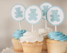 Add a beautiful and easy touch to the shower with these cupcake toppers. Each one is hand assembled and only premium card stock is used! Amount : 12 Toppers Size : wide and 5 tall Color: Light Blue, White, Gray Matching Party Decorations : Baby Shower Oso, Baby Shower Cupcakes For Boy, Baby Shower Cupcake Toppers, Teddy Bear Baby Shower, Cupcakes For Boys, Grey Baby Shower, Baby Shower Decorations For Boys, Baby Shower Centerpieces, Baby Shower Cakes