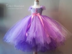 Rapunzel Tutu Dress- 23- 26 inch length - 4 years 5 yrs 6 years Removable arm bands Lavender Wisteria Disney Princesses. $85.00, via Etsy.