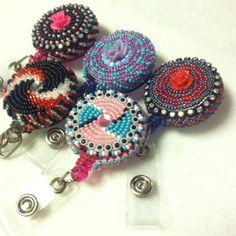 native american seed bead badge holder