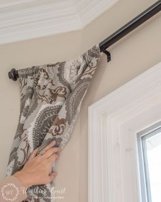 Simple DIY Projects From My Breakfast Area Makeover - Worthing Court Diy Bay Window Curtains, Bay Window Decor, Corner Curtains, French Door Coverings, Window Coverings, Diy Curtain Rods, Curtain Ideas, Bay Window Treatments, Window Rods