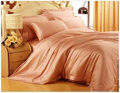 Купить Эвкалиптовый премиум-сатин Абрикос (тенсель) - интерьерные ткани, спальня, постельное белье