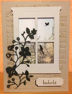 Memory Box Grand Madison Window;Catalina Border;Tag - Tim Holtz Bricked Texture Embossed Folder