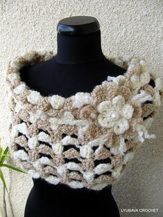 Crochet Cowl Scarf Tutorial Pattern PDF, Crochet Pattern Elegant Beige Scarf With Flower, Instant Download Lyubava Crochet Pattern number 67, via Etsy.