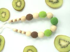 Lime green brown Nursing Necklace / by LittleSweetCandyShop