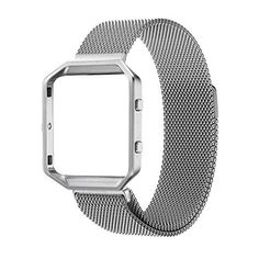Fitbit Blaze Accessories Band Small, UMTele Rugged Metal Frame Housing with Magnet Lock Milanese Loop Stainless Steel Bracelet Strap Band for Fitbit Blaze Smart Fitness Watch Silver (5.1''-7.9'') - http://www.exercisejoy.com/fitbit-blaze-accessories-band-small-umtele-rugged-metal-frame-housing-with-magnet-lock-milanese-loop-stainless-steel-bracelet-strap-band-for-fitbit-blaze-smart-fitness-watch-silver-5-1-7-9/fitness/