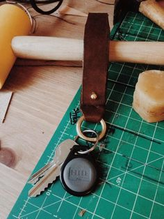 Brass and leather keychain/lanyard. by BrycesWallets on Etsy