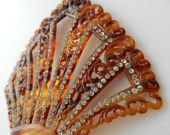 Faux tortoiseshell celluloid Victorian hair comb with clear paste stones