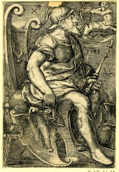 Jupiter from The seven planets. Whole-length male figure, seated in profile to right; wearing a helmet, holding a staff; two fishes representing Pisces on his chair, a centaur shooting an arrow representing Sagittarius at upper right; part of upper edge made up. 1548 Engraving Print made by: Hans Ladenspelder School/style: German Date: 1548 Materials: paper Technique: engraving British Museum number: 1869,0410.146