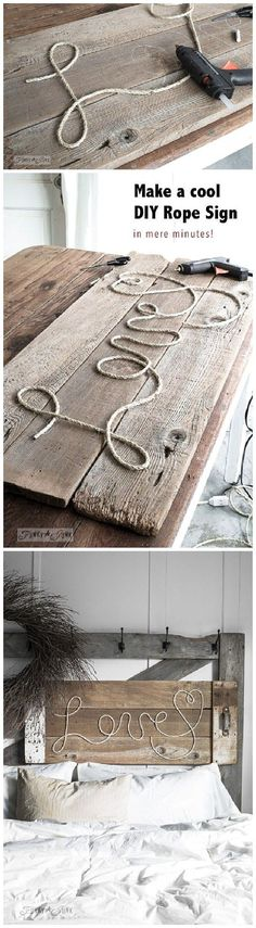 Make a cool DIY Rope Sign like this one... in minutes! So cool, cheap and fun to personalize for anyone on your gift list! DIY Rope Sign Tutorial | funkyjunkinteriors-donna                                                                                                                                                                                 More #diycheap