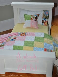 Another adorable DIY doll bed (also an amended Ana White). Also gives general instructions for how to make the super cute quilt.