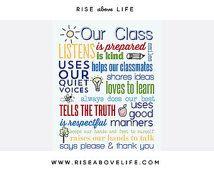 Class Rules Print 8X10 Teacher Gift