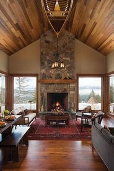 Corner Fireplace Design, Pictures, Remodel, Decor and Ideas - page 97 number 4 on list Cozy Living Spaces, Living Rooms, Small Living, Chimney Decor, Cedar Walls, Cedar Wood, Wood Ceilings, High Ceilings, Timber Ceiling