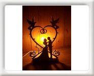Lampe de chevet en bois jeunes mariés