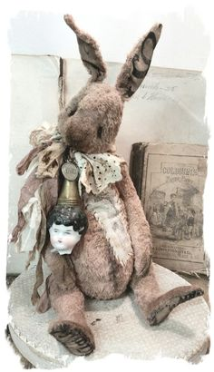 """Image of NEW DESIGN * 11"""" DREAM - an OLD Shabby PINK RABBIT w/ antique china doll head * By Whendi's Bears"""