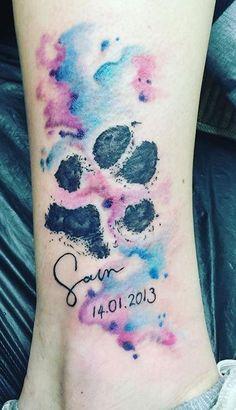 dog memorial tattoos 100 Heartwarming Dog Memorial Tattoos and Ideas to Honor Your Dog - Tattoo Me Now Cute Tattoos, Body Art Tattoos, Small Tattoos, Dog Print Tattoos, Dog Paw Tattoos, Cat And Dog Tattoo, Tattoos For Dog Lovers, Wing Tattoos, Sleeve Tattoos