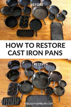 I collected these wonderful cast iron pans and restored them - check out how I did it! I collected these wonderful cast iron pans and restored them - check out how I did it! Household Cleaning Tips, Cleaning Recipes, House Cleaning Tips, Cleaning Hacks, Cleaning Wood, Camping Recipes, Whole Foods Market, Cleaning Cast Iron Pans, Restore Cast Iron
