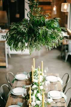 Flowerona's Wedding Wednesday : On Trend – Foliage chandeliers