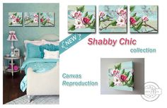 Shabby Chic pink & teal magnolia Set of 3 Canvas Art. Design: Are you in love with Shabby Chic ? These beautiful art blocks are the perfect additions to any Shabby Chic room. Perfect for adding a unique and creative touch to your home, or giving as a thoughtful gift. Its a great way to