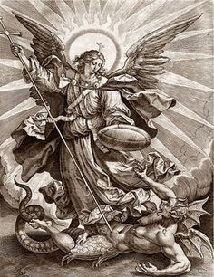 Recto St Michael triumphing over the dragon; St Michael, holding a cross-ended spear and a shield, seen standing and transfixing a monstrous creature, with breasts, wings and a dragon tail. Engraving © The Trustees of the British Museum St. Michael Tattoo, Archangel Michael Tattoo, Catholic Art, Religious Art, St Micheal, Biblical Art, Saint Michel, Angels And Demons, Art Graphique