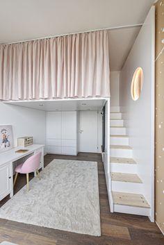 Loft Room, Bedroom Loft, Bedroom Decor For Small Rooms, Room Decor Bedroom, Home Room Design, Tiny House Design, Loft Bed Plans, Minimalist Room, Girl Bedroom Designs