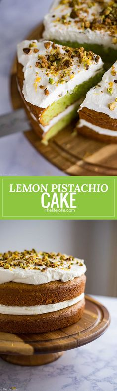 This Lemon Pistachio Cake is the best easy recipe when you need a quick cake to wow your guests. This is actually a hack for a box cake mix made with pudding and topped with light and fluffy whipped cream. The result is a super moist and pretty layered ca