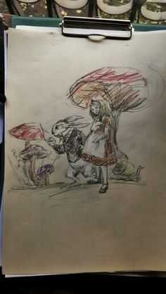 Alice in Wonderland, Mushroom and rabbit, sketches