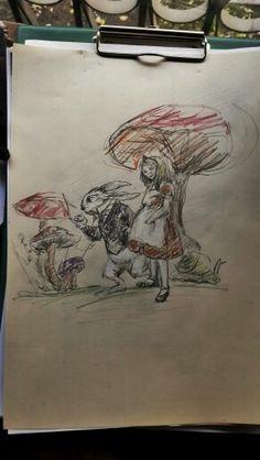 Alice in Wonderland, Mushroom and rabbit, sketches