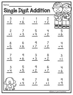 math This addition and subtraction is intended to invite some holiday fun into the classroom while learning basic math skills. Addition and subtraction problems are presented in many different f Kindergarten Addition Worksheets, First Grade Math Worksheets, English Worksheets For Kids, Preschool Worksheets, In Kindergarten, Basic Math Worksheets, 1st Grade Math, Learn Basic Math, Preschool Math