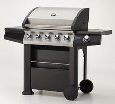Gasgrill MAXXUS® BBQ CHIEF 7.0 Schwarz   5 Edelstahlbrenner, Doppelwandige  Haube, Seitenbrenner,