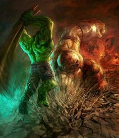 Marvel Comic Book Artwork • Hulk Vs Juggernaut. Follow us for more awesome comic art, or check out our online store www.7ate9comics.com