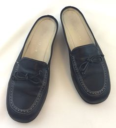 44f3fc9b41aa Womens Cole Haan Leather Slip On Mules Low Back Loafers Black Size 6-1 2 M   ColeHaan  Mules  Casual