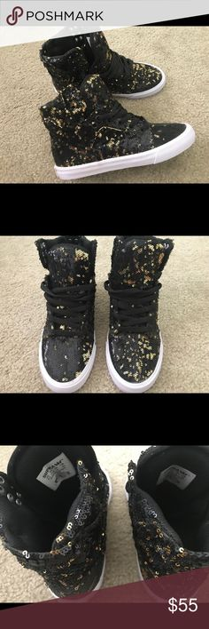 Supra black and gold sequin high top Never worn out, only tried it on twice indoors. Super clean and pretty much still brand new. Size 6.5 women. Shoes Sneakers