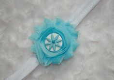 Baby Blue Shabby Chic Flower Headband Baby by BandsForBabes, $6.00