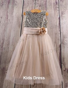 Aline+Scoop+Tulle+Flower+Girl+Dress+With+Gold+Sequins+by+kidsdress,+$37.00
