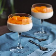 """""""Old Fashioned"""" Panna Cotta with Bourbon, Bitters, and Tangerines. Dessert for serious cocktail lovers!"""