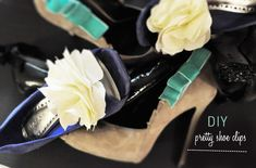 DIY Pretty Shoe Clips.  Visit http://greenweddingshoes.com/diy-pretty-shoe-clips/ for the complete tutorial and Afloral.com for a variety of styles and colors of ribbons for this DIY.