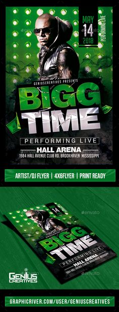 #Bigg Time Artist/DJ Flyer Template - #Concerts #Events