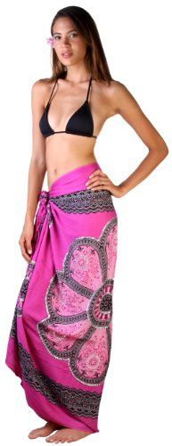 52daa95f3a Back From Bali Sarong Swimsuit cover up in pretty mandala design with  silver sequins. So