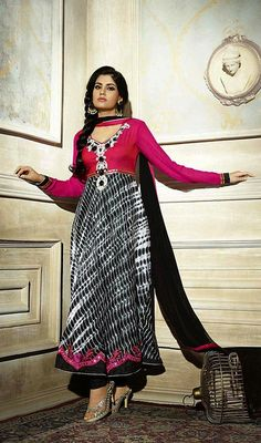 Spell royalty as you sway around wearing this black and pink georgette long Anarkali suit. The mirror, resham and stones work seems chic and great for any affair. #LatestLongCasualDresses
