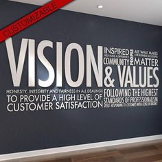 Vision & Values 3D Letters Office Wall Art Wall Decal