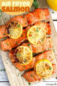 Air Fryer Salmon - Salmon marinaded in a deliciously sweet brown sugar mixture and then air fried to perfection! One of the best salmon recipes you'll find! Best Salmon Recipe, Baked Salmon Recipes, Seafood Recipes, Seafood Dishes, Salmon Marinade, Hamburger Meat Recipes, Sausage Recipes, 15 Minute Dinners