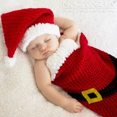 Christmas Holiday Baby Santa Hat and Cocoon Bunting by Donna Wolfe from Naztazia Crochet Santa, Crochet Kids Hats, Christmas Crochet Patterns, Crochet Baby Clothes, Free Crochet, Crochet Mittens, Booties Crochet, Crochet Christmas, Baby Santa Hat