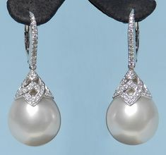 Fine Pair of x White Baroque South Seal Pearl Drop Earrings Set in White Gold, 78 Diamonds Total Weight Grey Pearl Earrings, Pearl Jewelry, Wedding Jewelry, Diamond Earrings, White Gold Jewelry, Bridesmaid Jewelry Sets, Pearl Pendant, Diamond Studs, Beautiful Earrings