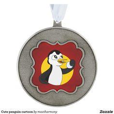 Cute penguin cartoon scalloped pewter christmas ornament